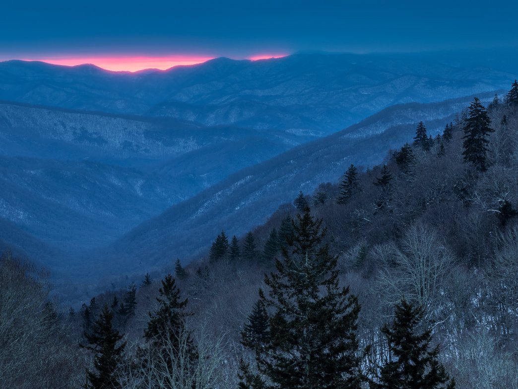 Winter sunrise at Oconaluftee Overlook in the Great Smoky Mountains National Park.