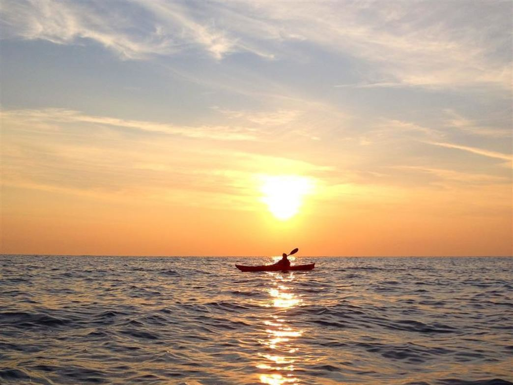 Sea kayaking on Lake Michigan offers plenty of room and great views of the city skyline.