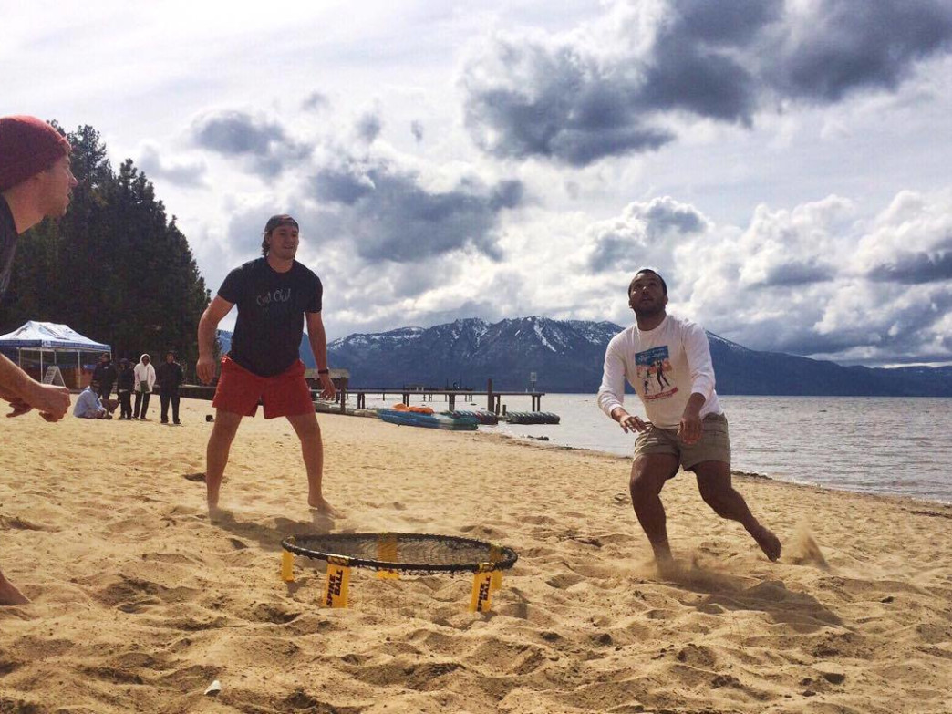 Beach games at Lake Tahoe.