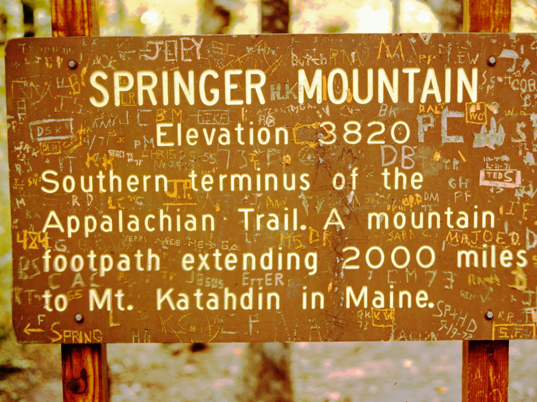 The well-worn sign on top of one of Georgia's most iconic (yet humble) summits