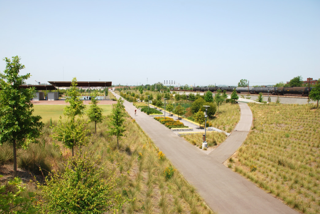 Railroad Park, with 19 miles of trails, is popular among cyclists.
