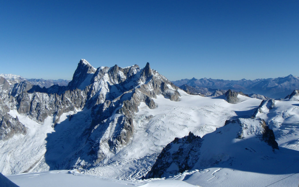 The majestic peaks in the French Alps offer runs for all types of skiers.