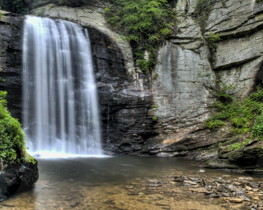 A short family friendly trail leads to the Looking Glass Falls in North Carolina.