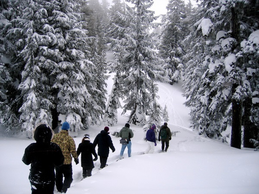 Even with a mild winter, snowshoeing remains a popular activity throughout Oregon