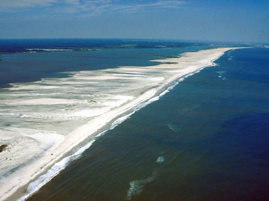 An aerial view of Assateague Island on Maryland's Eastern Shore shows the narrow width of the barrier island
