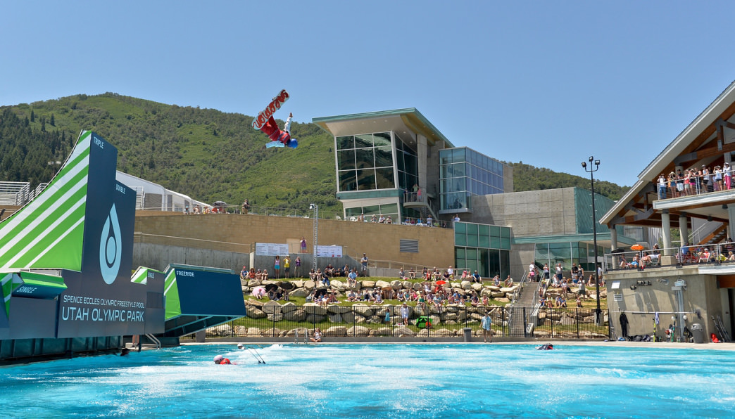 Skiers and snowboarders from the U.S. National Team put on a show over the pool.