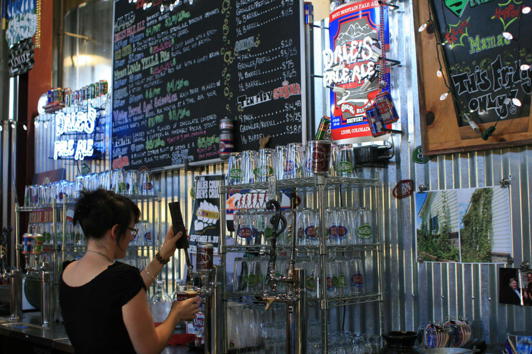 The Oskar Blues tasting room.