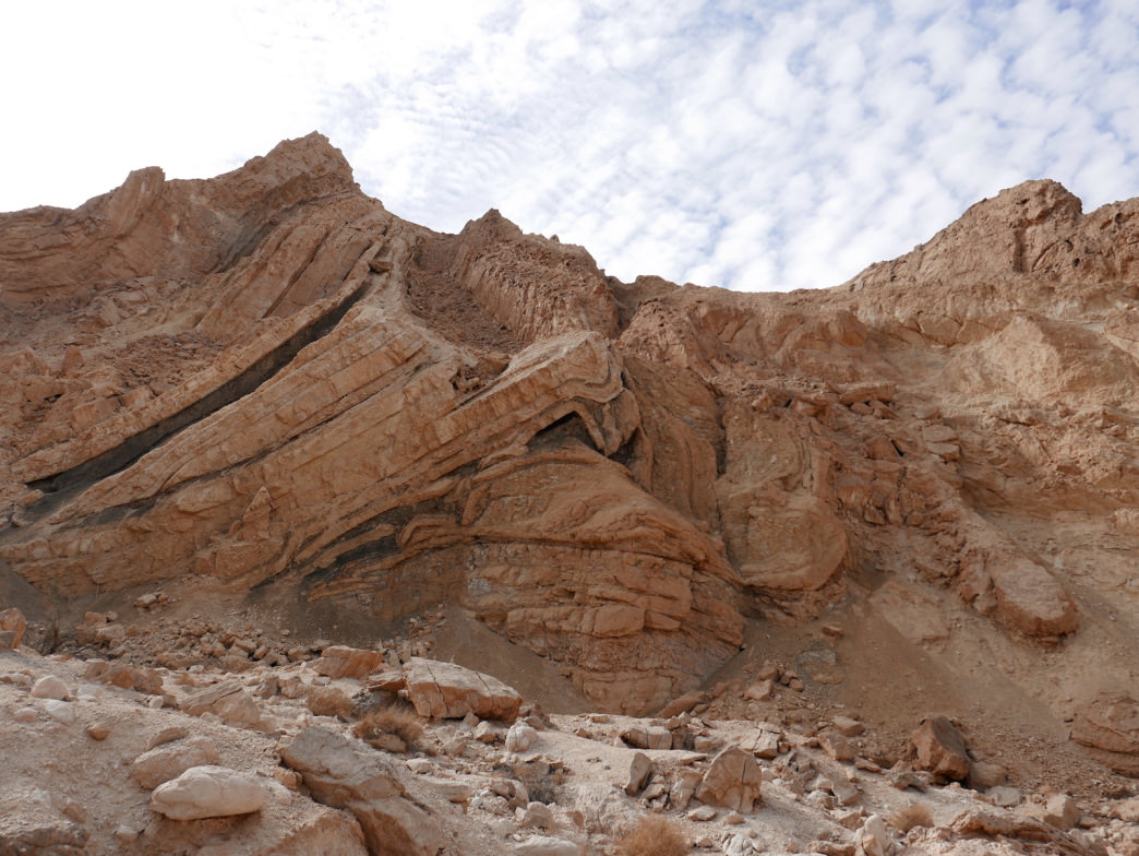 Rock layers in the Negev Desert tell stories that span millions of years.