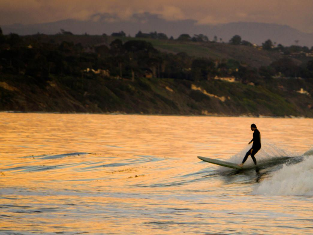 Casual evening surf sessions in Santa Barbara