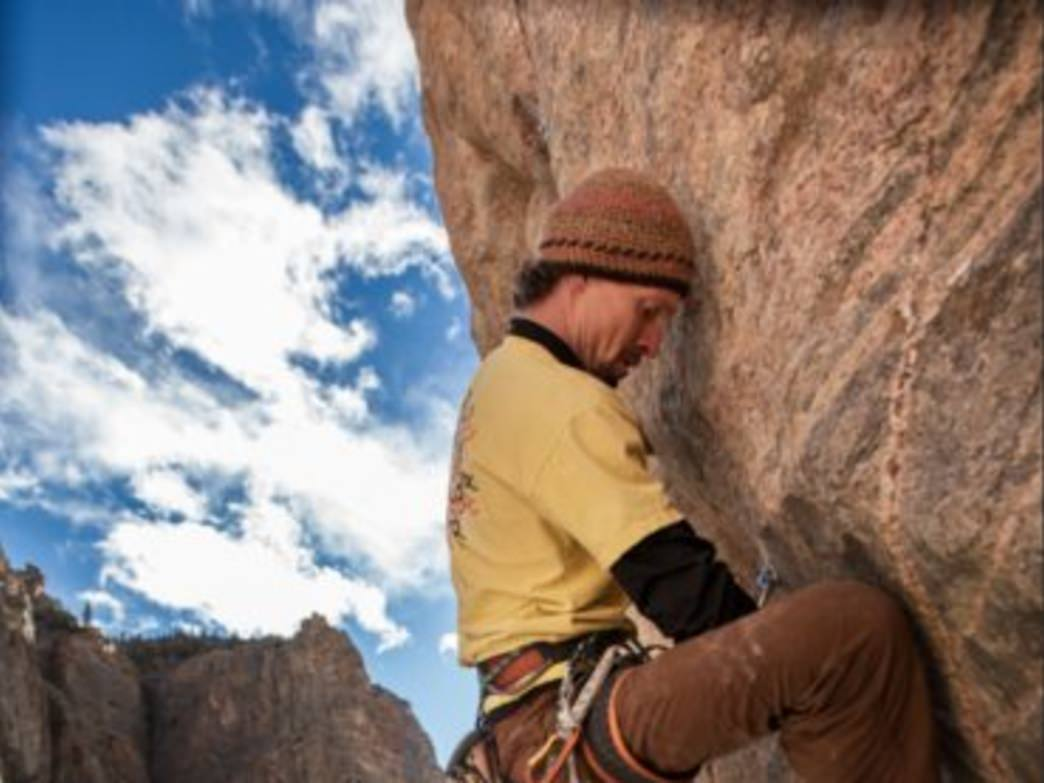 Mike Snyder in Lower Canyon Granite, Shoshone Canyon