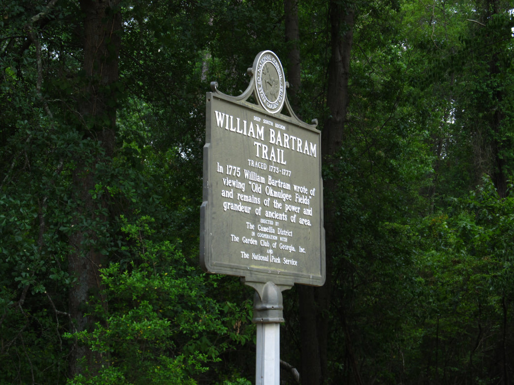 Historical markers note the route that William Bartram took while exploring and identifying species native to the southeast.