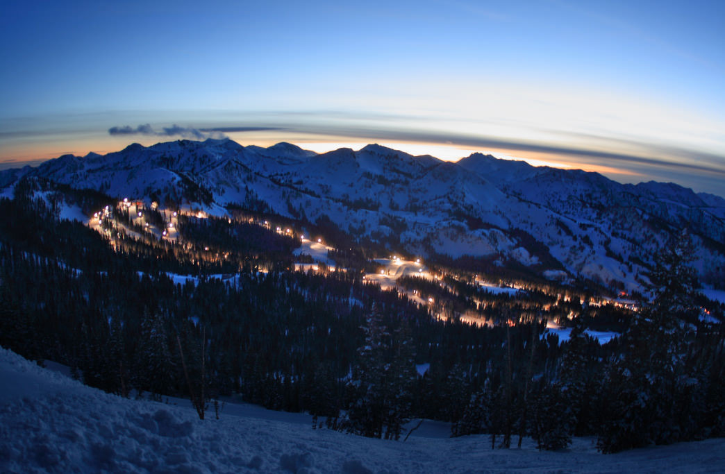 When the sun sets, you can can still ski at several Utah resorts under the lights, including Brighton, pictured here.      Photo courtesy of  Ski Utah
