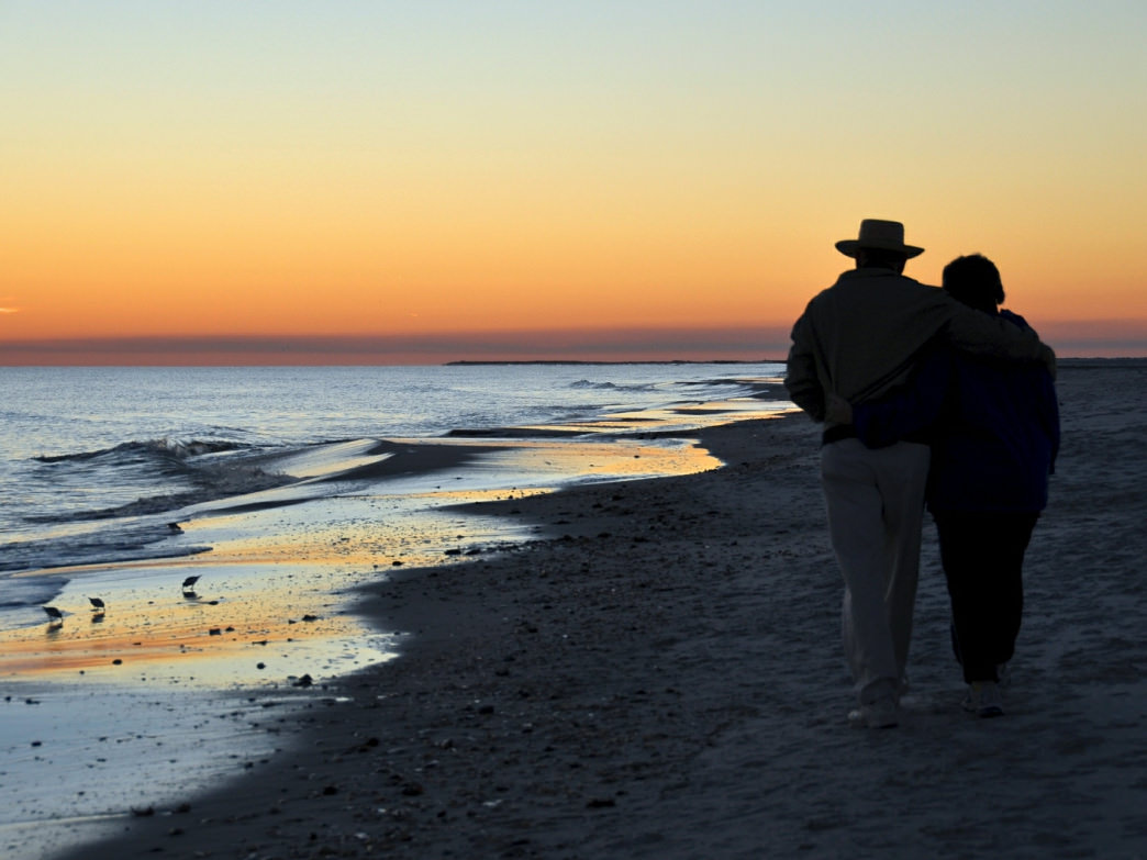 A sunset stroll on Dauphin Island is romantic any time of year.