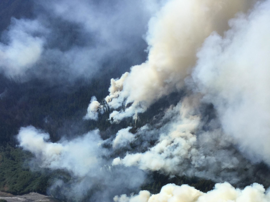 An aerial view of the Paradise Fire currently burning in the Queets Rainforest of Olympic National Park