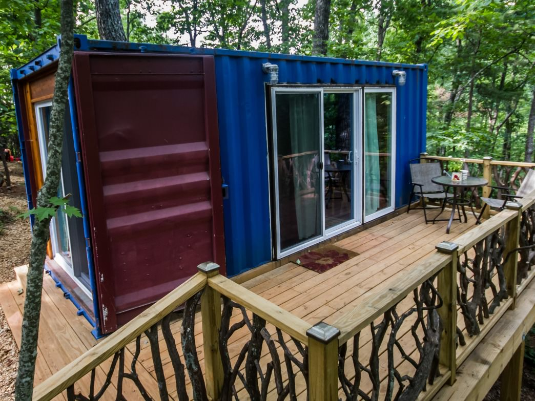 The Hiker Hostel features container cabins as one option for guests.