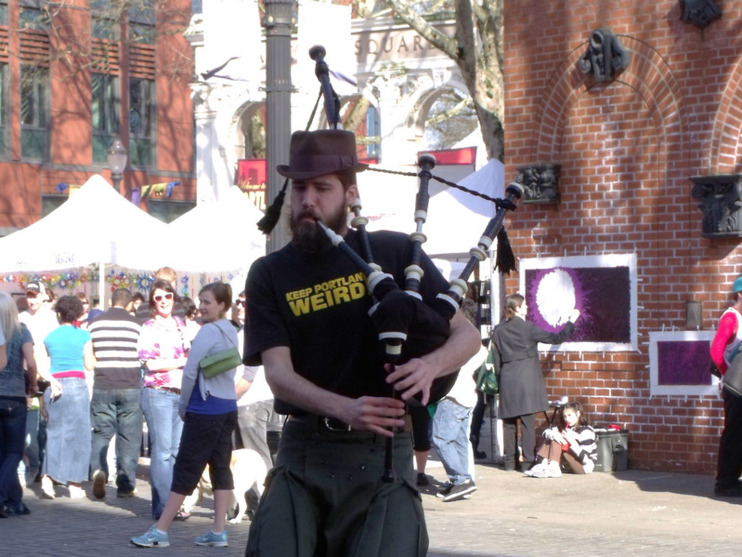 The Unipiper, who plays bagpipes while riding a unicycle (and occasionally wearing a Darth Vader mask), is a mainstay at events throughout Portland.
