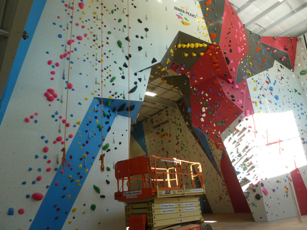The climbing walls at the new Inner Peak location are complete.