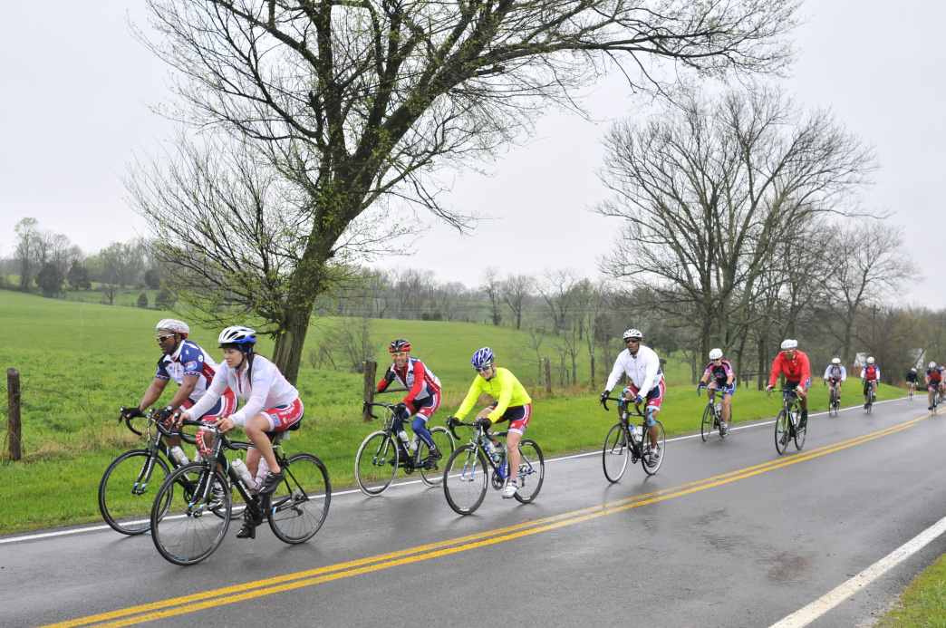 Ride 2 Recovery Bluegrass Challenge riders don't let a little rain deter them.