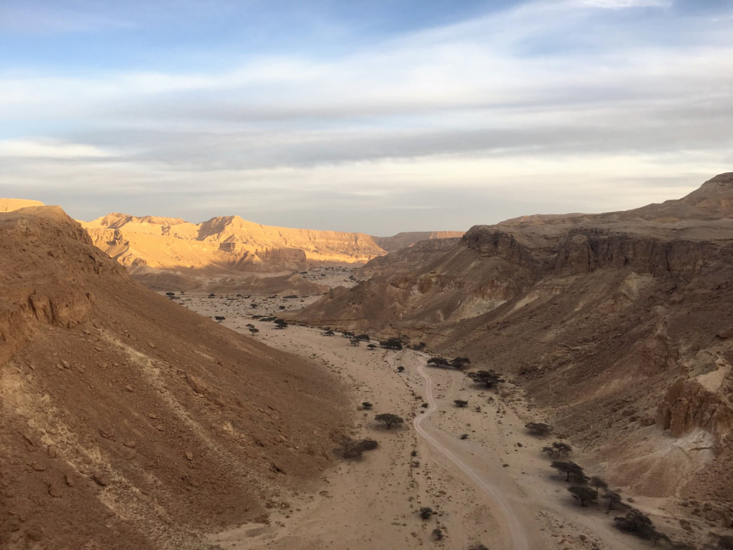 Rocky ridges crumble to sandy expanses in the Negev Desert.