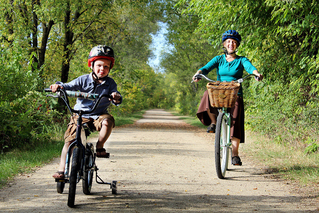 The La Crosse River State Trail is an easy ride on a wide open trail, and you might even get passed by a train or two.