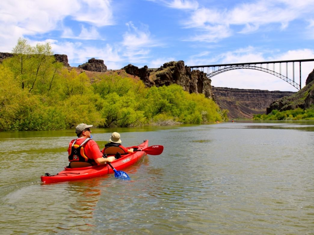 The stretch of the Snake River near Twin Falls gives paddlers unique views of the bottom of the canyon near the Perrine Bridge.