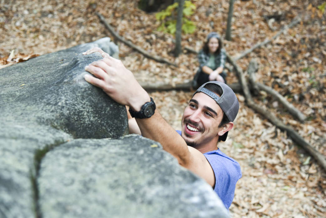 All smiles at Chattanooga's Stone Fort bouldering field.