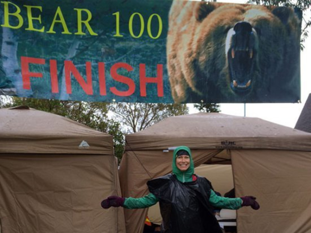 Christy Mahon at the finish of the grueling Bear 100, following strong downpours.