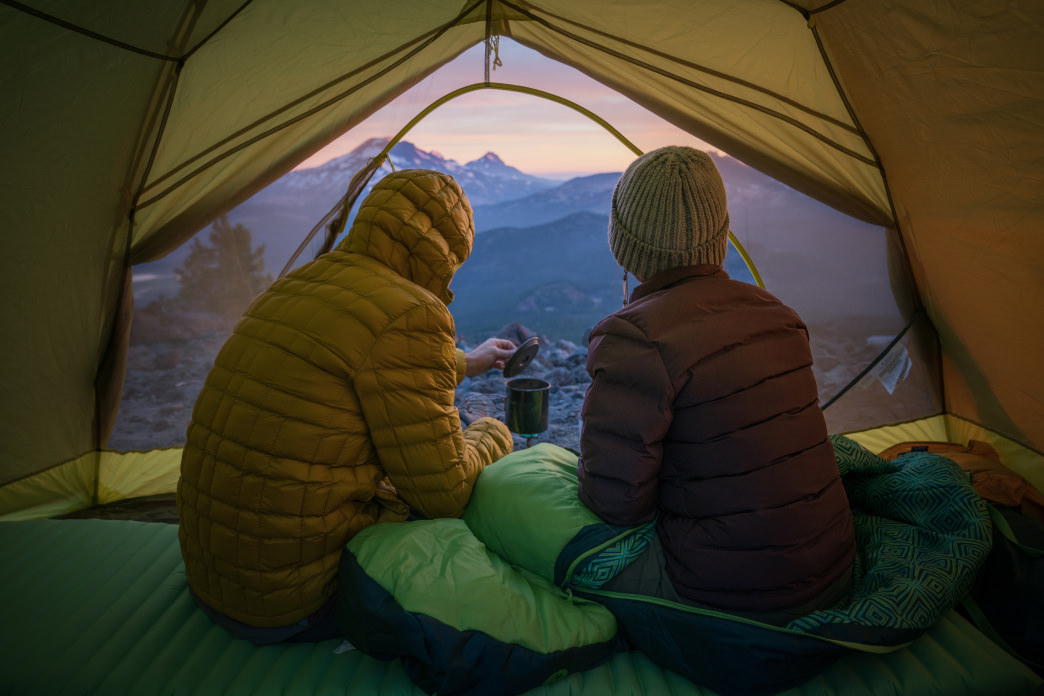 Inside The Tent Waking Up To Snow Capped Mountains Is A Big Perk Of Winter Camping Photo