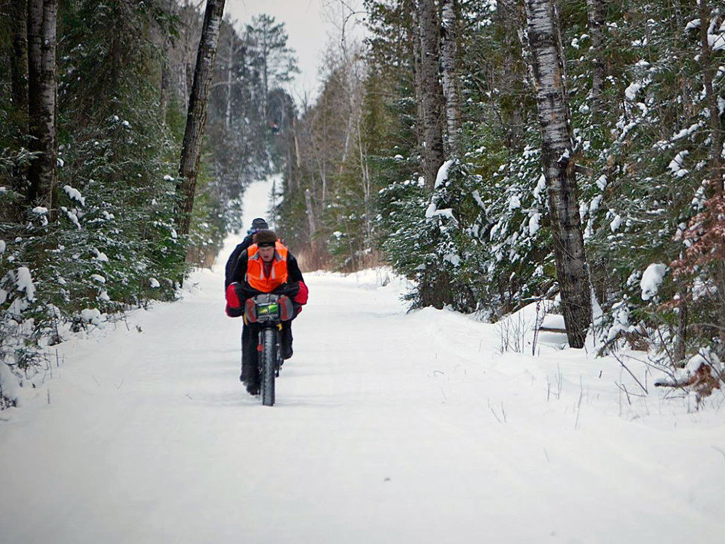Bikers Brace themselves against the elements in the brutal Arrowhead 135