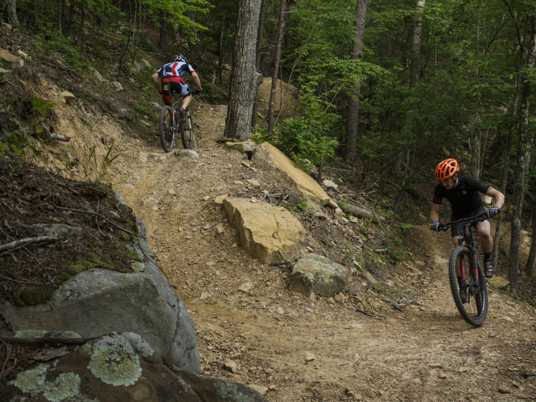 Racoon Mountain Trail System, X trail. Rider(s) shown: Cody Wallis