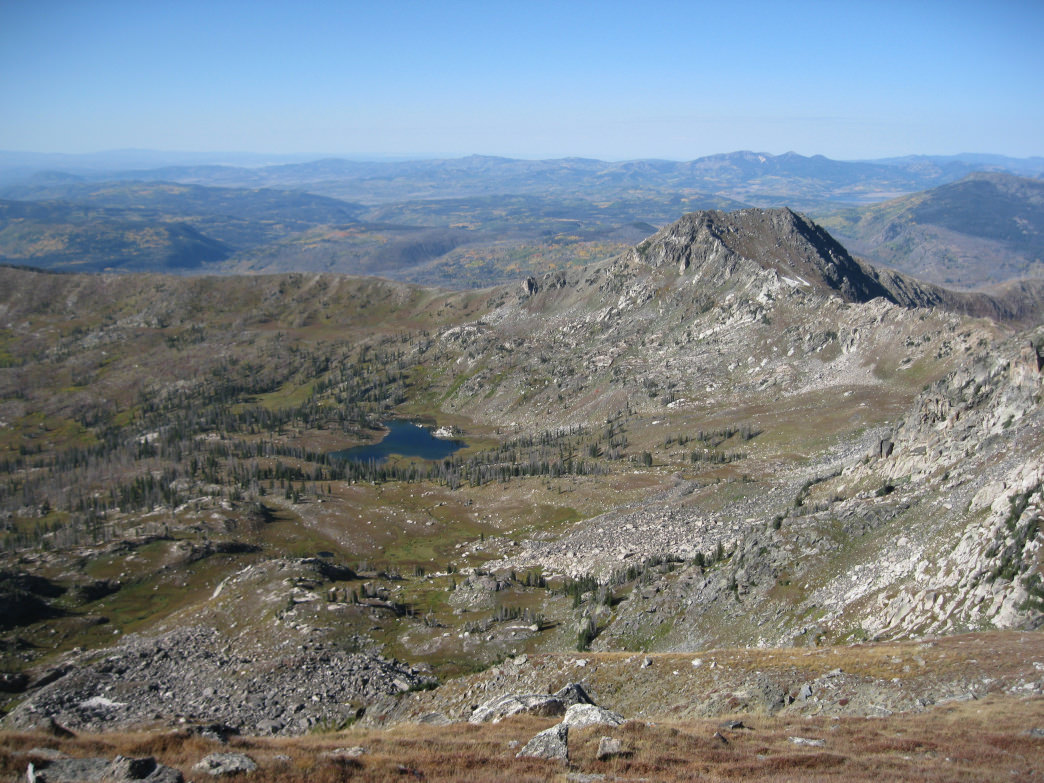 "Mica Lake and the Mica Lake Basin as seen from ""Middle Agnes"" with one of the two Little Agnes Peaks in the distance.     James Dziezynski"