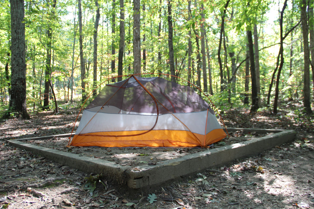 One of the tent pads for backcountry camping. 