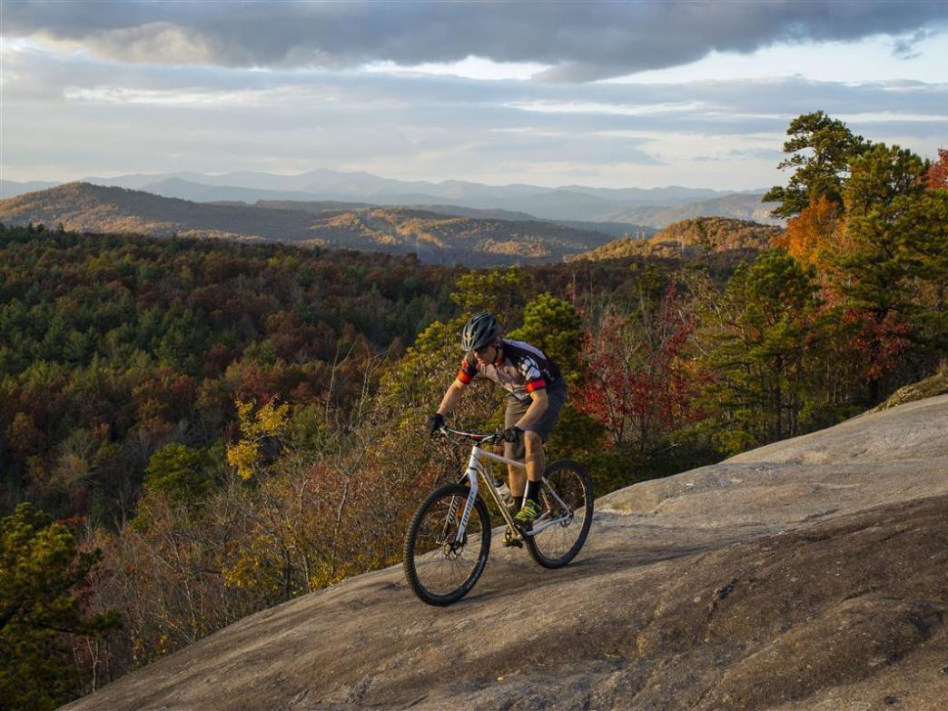 Riding on the exposed granite slabs of the Slickrock Trail