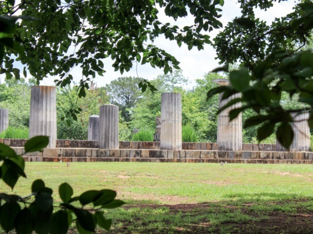 """Ancient"" Greek ruins are scattered among the blooming beauty at Jasmine Hill Gardens and Outdoor Museum."