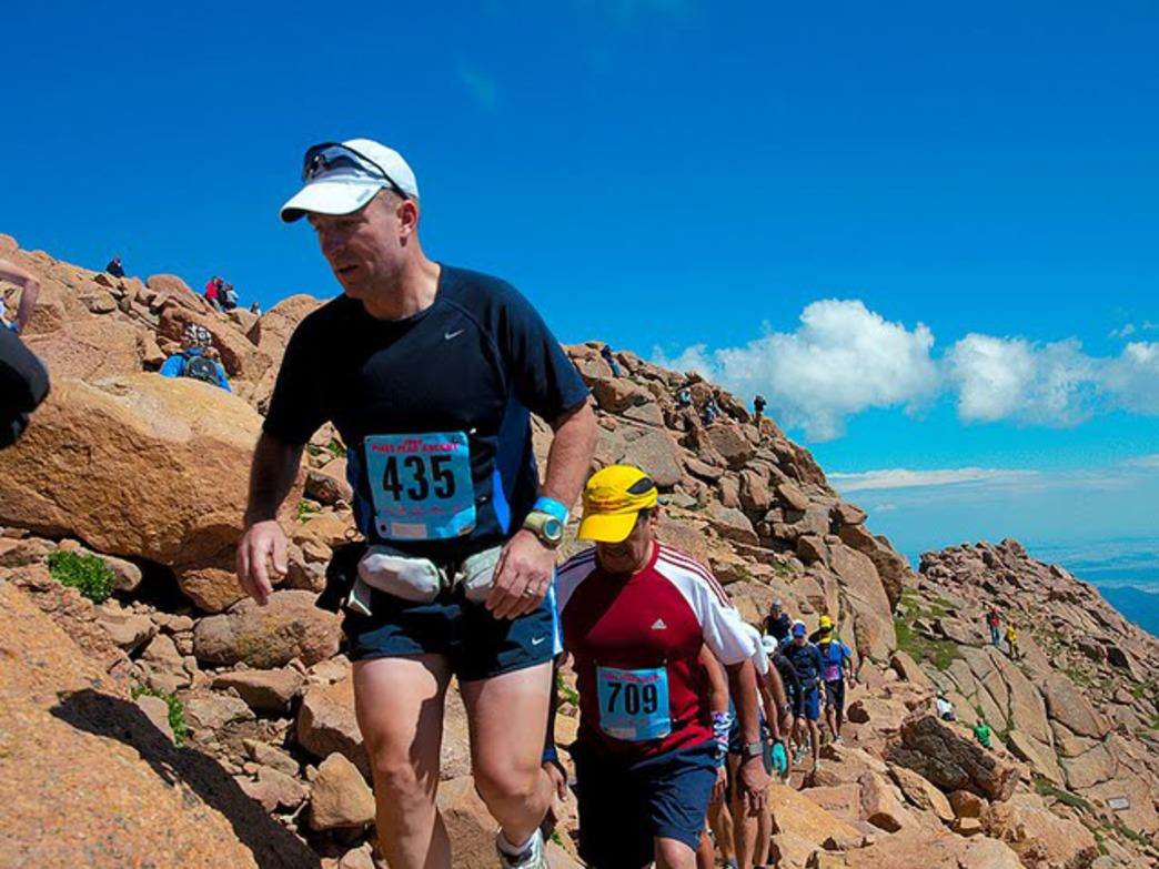 Master Sgt. Robert Mielish, an instructor at Marine Corps Communications-Electronics School, makes his way up the 13.3-mile Pikes Peak Ascent.