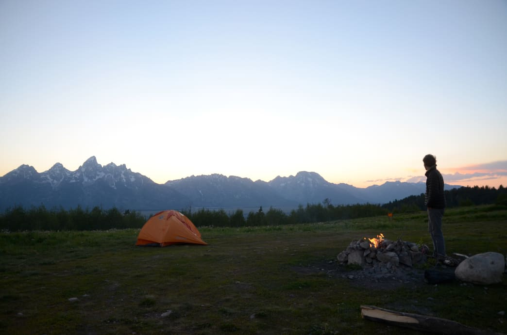 Watching the sunset behind the Tetons from Shadow Mountain Campground.