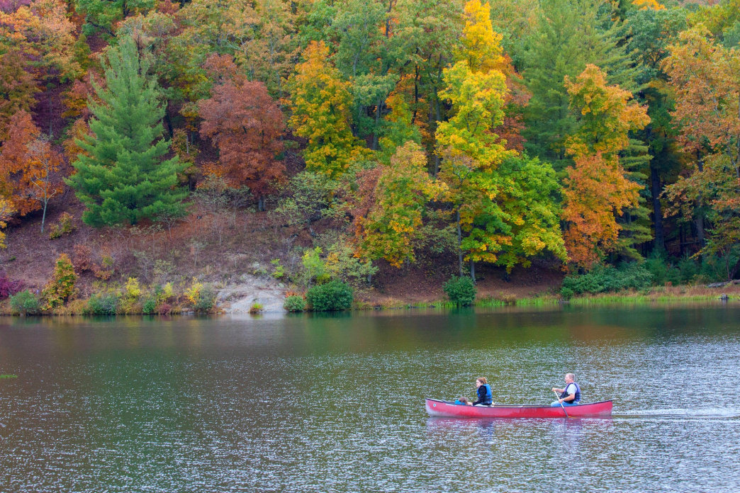 Floating in the 50-acre lake at Douthat State Park is a great way to relax after a tough hike.