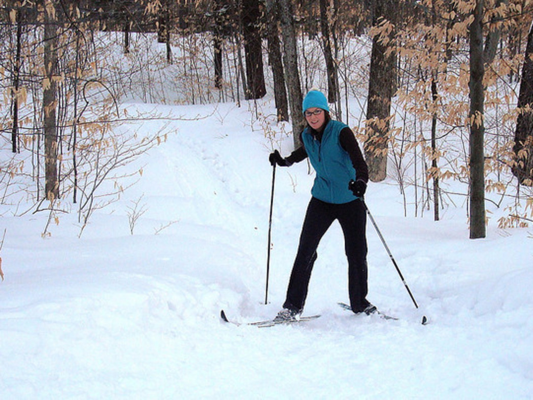 Cross-country skiing is a great way to enjoy nature.