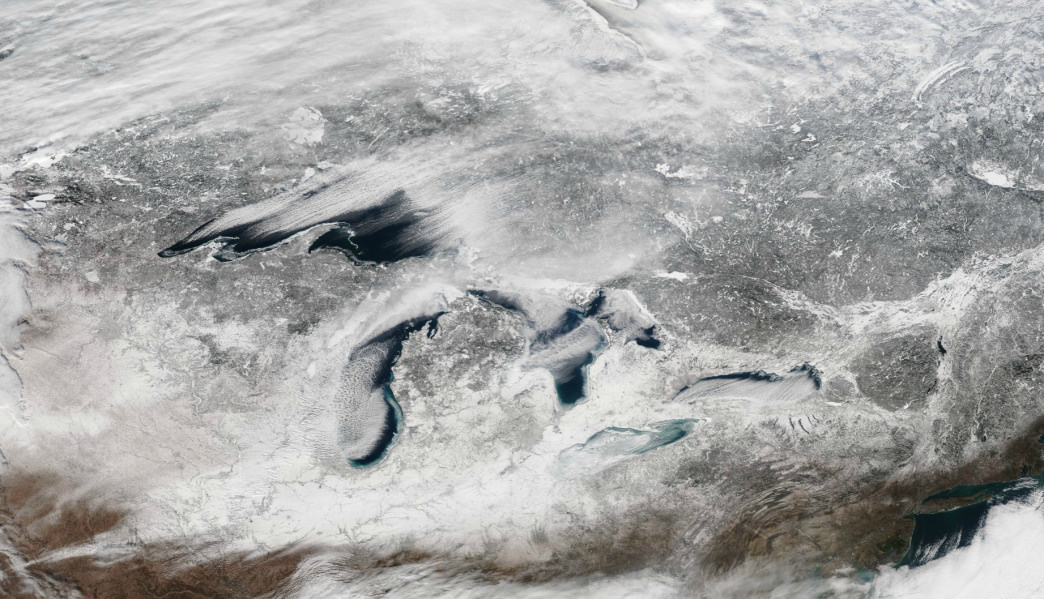 A view of the Great Lakes snow-belt from space.