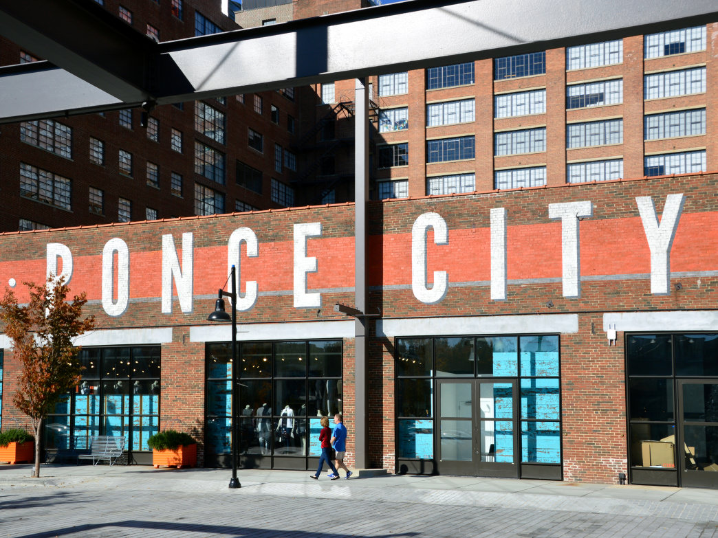 The Ponce City Market, located near the BeltLine's Eastside Trail, offers prepared foods as well as fresh produce.