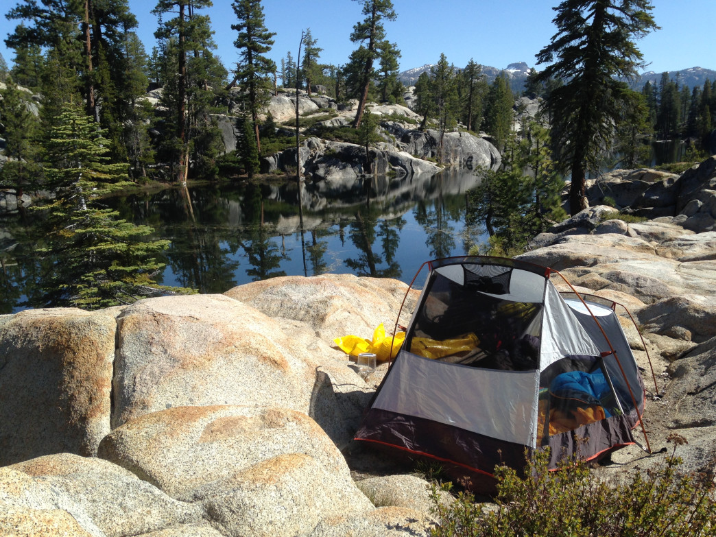Camping alongside Sword Lake in the Carson-Iceberg Wilderness.