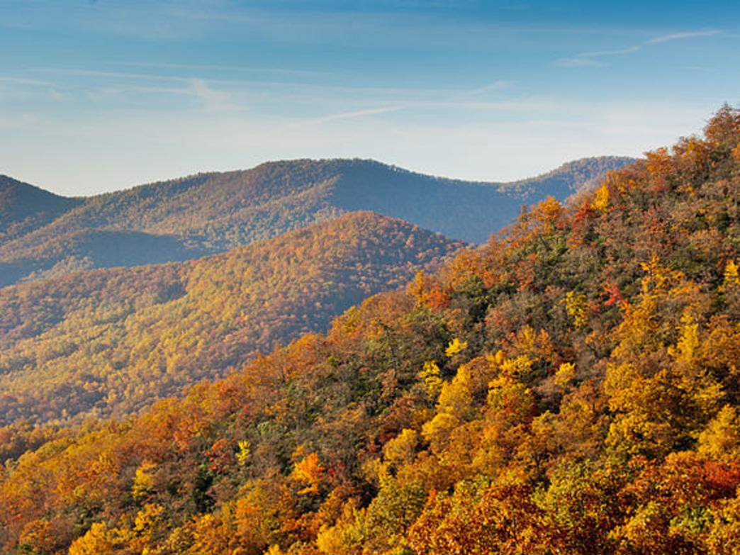 The Appalachian Mountains offer spectacular fall colors.