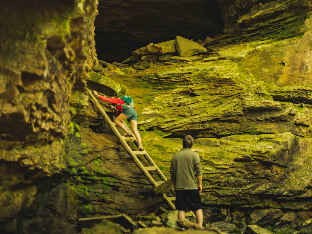 The many wonders of Honey Creek loop include caves and climbing.