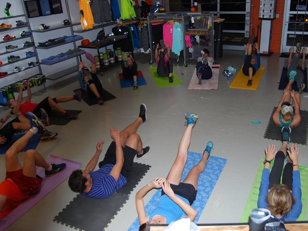 Free hardcore abs class inside the ARC storefront.