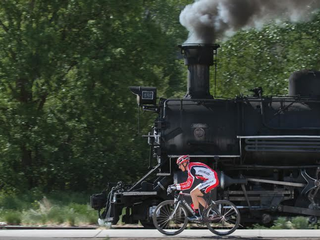 The Iron Horse Bicycle Classic includes a bicycle race against the Durango-Silverton train.
