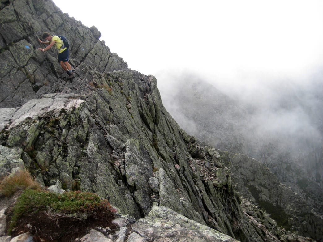 Traversing a tricky section of Mount Katahdin's Knife's Edge Trail