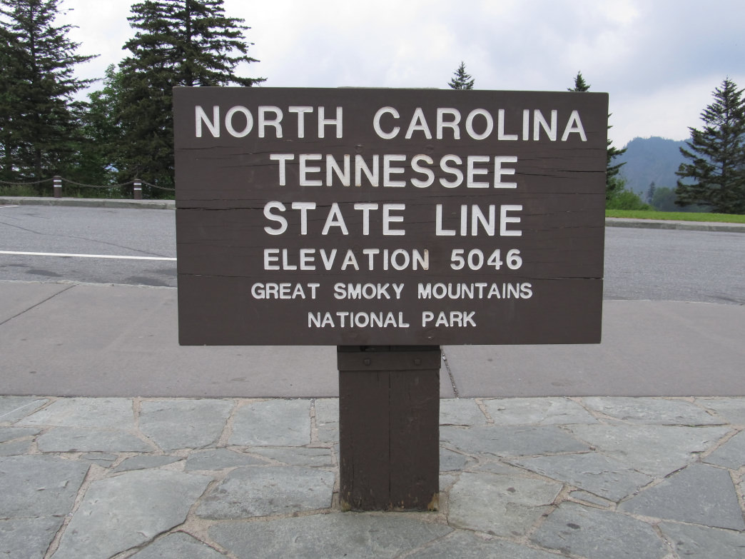 Great Smoky Mountains National Park runs along the North Carolina/Tennessee State Line.