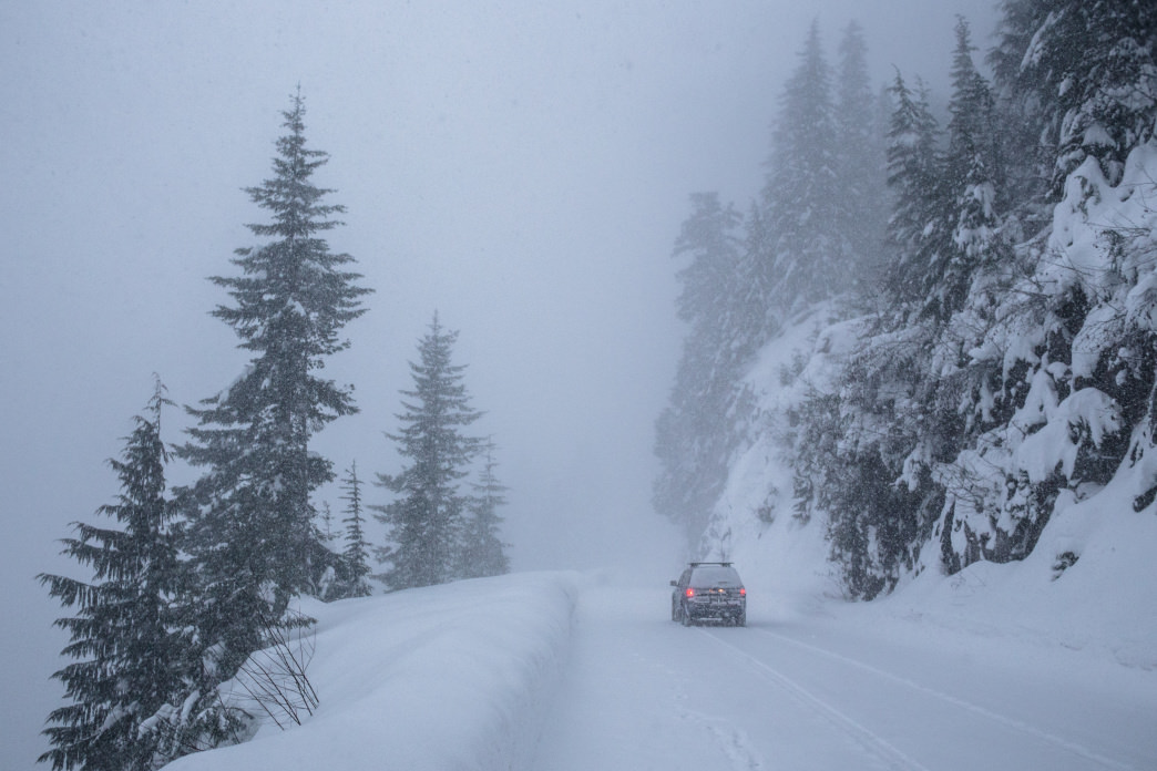 The Paradise drive can be an adventure, especially if it snows more while you're on the trail!