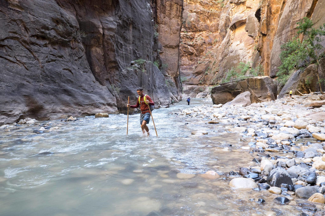 The water at Zions Narrows is uber refreshing during desert hiking.