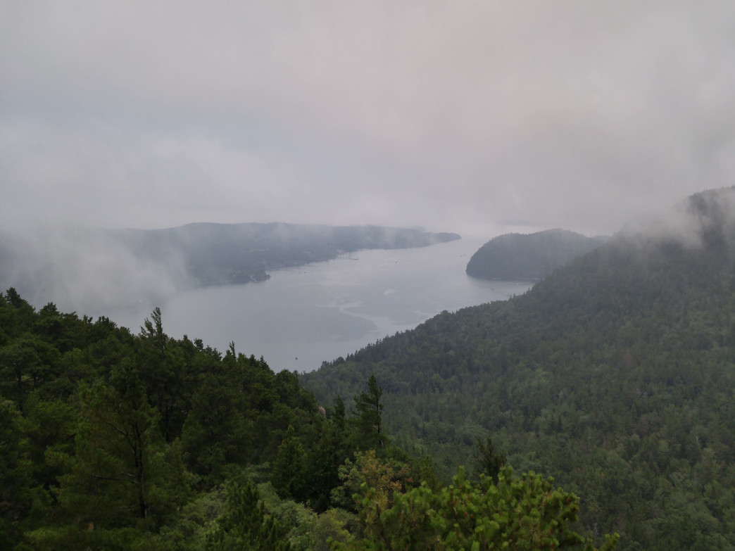 Sea mist and Somes Sound from Acadia Mountain.